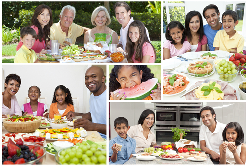 multigenerational families eating together